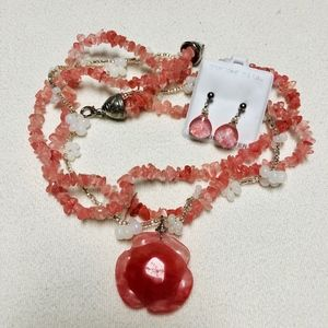 Pink & white shell/pearl necklace and earrings